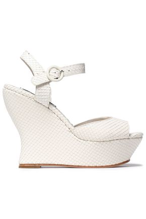 ALICE+OLIVIA Snake-effect leather wedge sandals