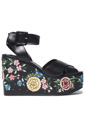 ALICE+OLIVIA Violet embroidered leather wedge sandals