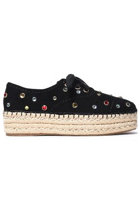 ALICE+OLIVIA Rory crystal-embellished suede platform espadrille sneakers