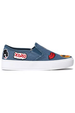 ALICE+OLIVIA Pia Emoji appliquéd denim slip-on sneakers