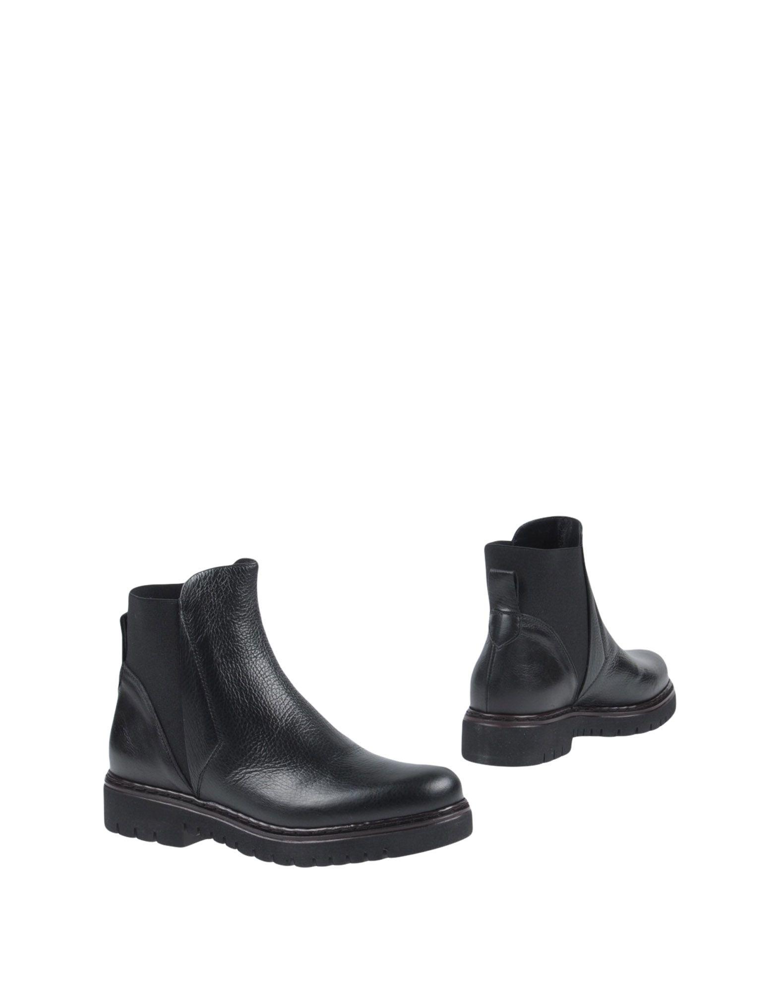 EMANUELA PASSERI レディース ショートブーツ ブラック 35 革 / 伸縮繊維