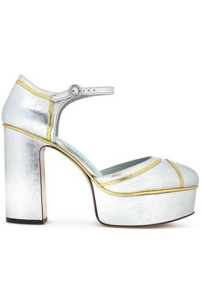 MARC JACOBS Metallic leather platform pumps