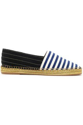 MARC JACOBS Two-tone striped grosgain espadrilles