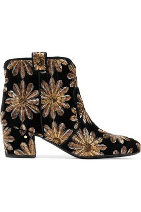 LAURENCE DACADE Sequined embroidered velvet ankle boots