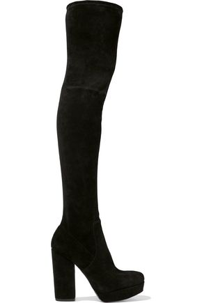 ALICE + OLIVIA Hampton suede platform thigh boots