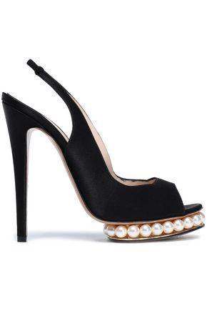 NICHOLAS KIRKWOOD Embellished satin platform slingback sandals