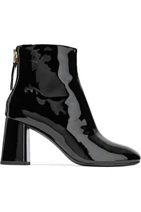 ALICE+OLIVIA Mulberry patent-leather ankle boots