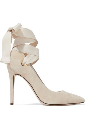 ALICE + OLIVIA Dominique lace-up suede pumps