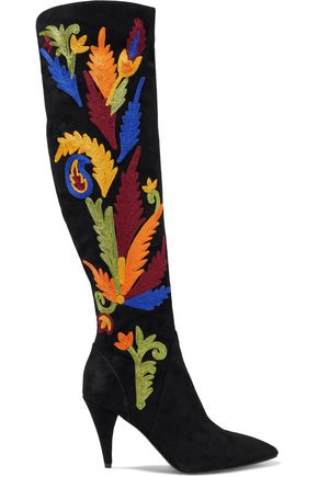 ALICE+OLIVIA Embroidered suede knee boots