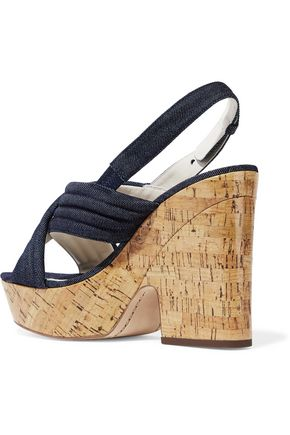 ALICE + OLIVIA Charlize denim and cork platform sandals