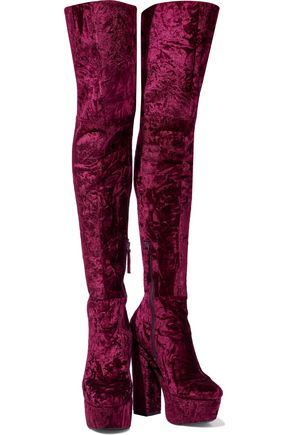 ALICE + OLIVIA Geneva crushed-velvet platform over-the-knee boots