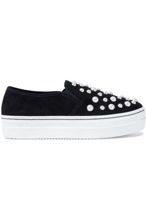 ALICE+OLIVIA Sasha Pearls suede platform slip-on sneakers