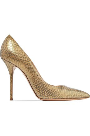 CASADEI Metallic python-effect leather pumps