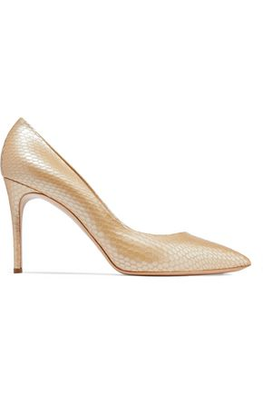 CASADEI Python-effect leather pumps