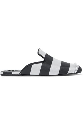 ALEXANDER WANG Jaelle embellished striped woven slippers
