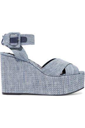 ALICE+OLIVIA Violet studded denim wedge sandals