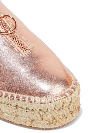 ALEXANDER WANG Devon metallic textured-leather platform espadrilles