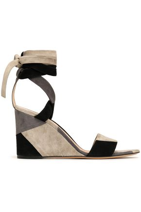 GIANVITO ROSSI Lace-up patchwork suede wedge sandals