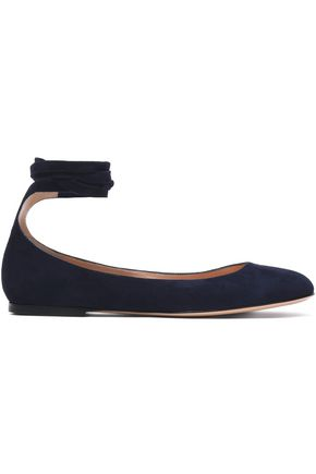 GIANVITO ROSSI Glossed-leather ballet flats