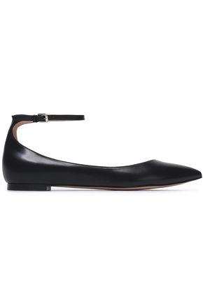 GIANVITO ROSSI Glossed-leather point-toe flats