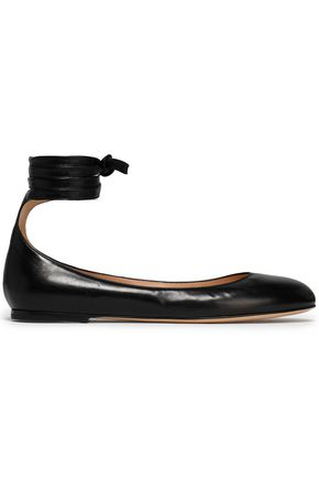 GIANVITO ROSSI Carla lace-up leather ballet flats
