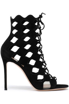 GIANVITO ROSSI Lace-up cutout suede sandals