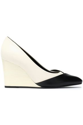 LANVIN Two-tone matte and patent-leather wedge pumps