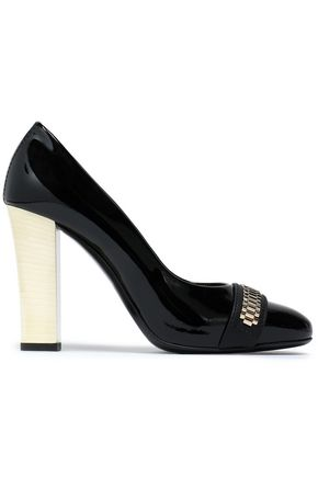 LANVIN Mila embellished two-tone patent-leather pumps