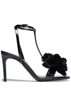 LANVIN Floral-appliquéd patent-leather sandals