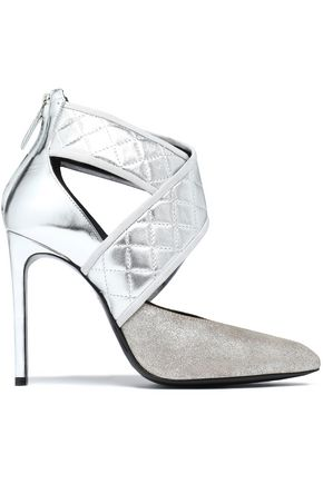 LANVIN Quilted, glittered and mirrored-leather pumps