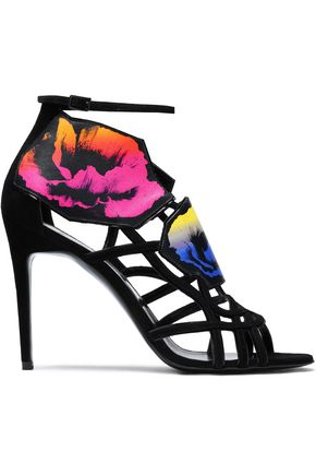 PIERRE HARDY Suede and printed leather sandals