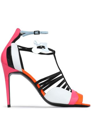 PIERRE HARDY Patent-leather-trimmed color-block suede sandals