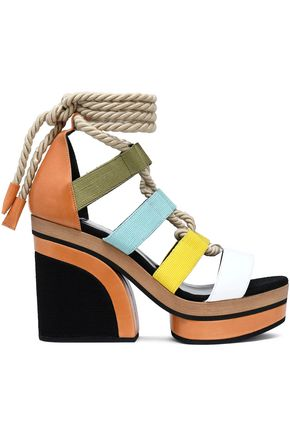 PIERRE HARDY Lace-up color-block leather and canvas platform sandals