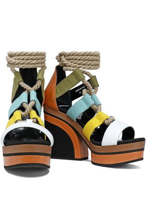 bc2cd230b936 ... PIERRE HARDY Lace-up color-block leather and canvas platform sandals ...