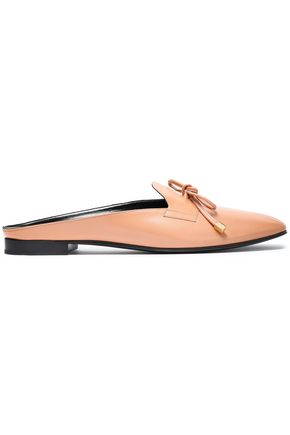 PIERRE HARDY Bow-detailed metallic leather slippers