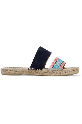 MANEBÍ Jacquard and suede espadrille slides