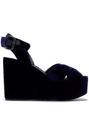 ALICE+OLIVIA Violet velvet wedge sandals