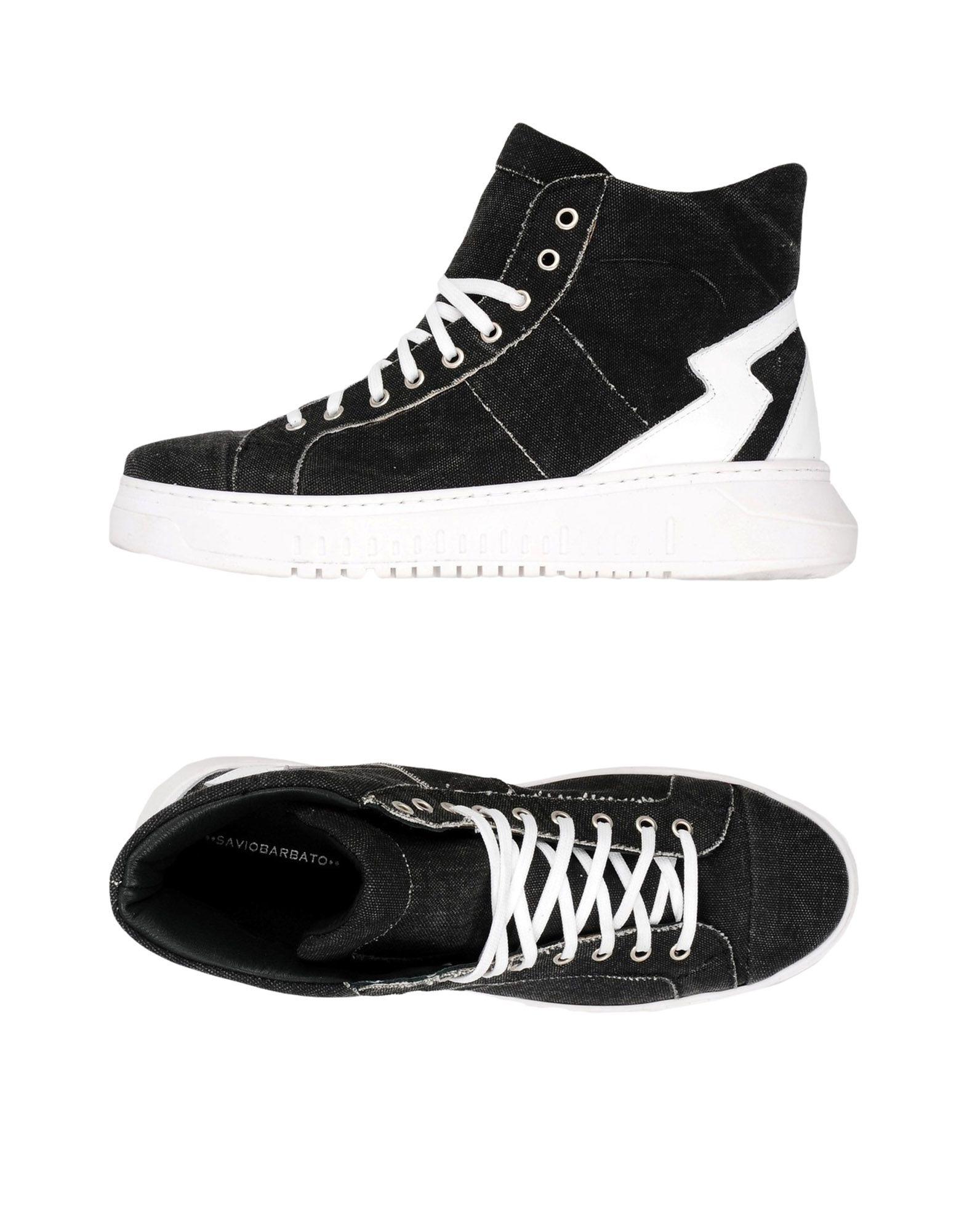 《送料無料》SAVIO BARBATO メンズ スニーカー&テニスシューズ(ハイカット) ブラック 41 紡績繊維 / 牛革(カーフ)