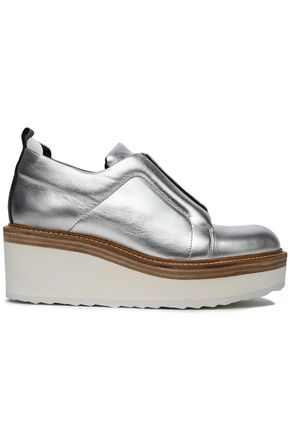 PIERRE HARDY Metallic leather platform brogues
