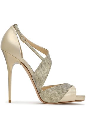 JIMMY CHOO Glittered mesh and metallic leather sandals