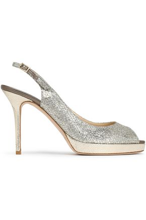 JIMMY CHOO Glittered leather slingback sandals
