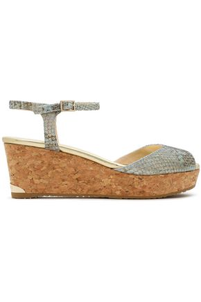 JIMMY CHOO Snake-effect leather and cork wedge sandals