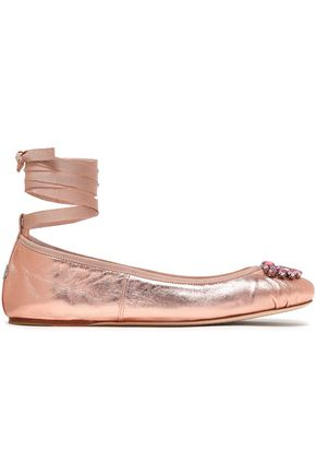 JIMMY CHOO Crystal-embellished metallic leather ballet flats