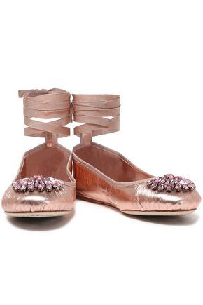 JIMMY CHOO Crystal-embellished metallic leather ballet flats