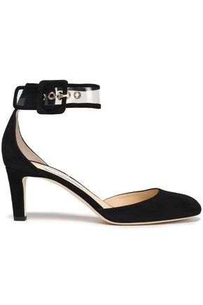 Jimmy Choo Woman Pvc-trimmed Suede Pumps Black Size 36 Jimmy Choo London BJ01e