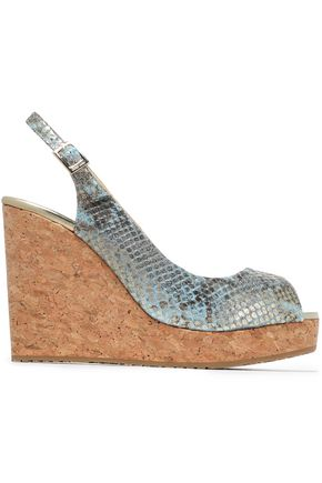 JIMMY CHOO Metallic snake-effect leather wedge sandals