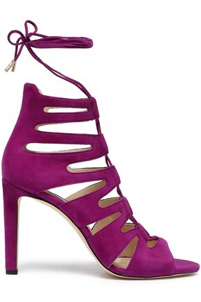 JIMMY CHOO Lace-up cutout suede sandals