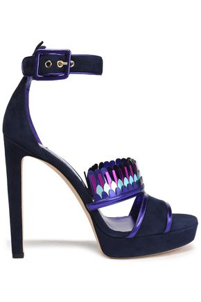 JIMMY CHOO Kathleen metallic-trimmed suede platform sandals