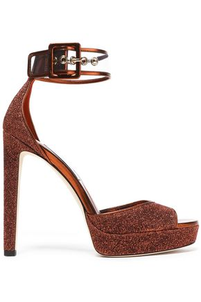 JIMMY CHOO Mayner PVC-trimmed glittered leather platform sandals