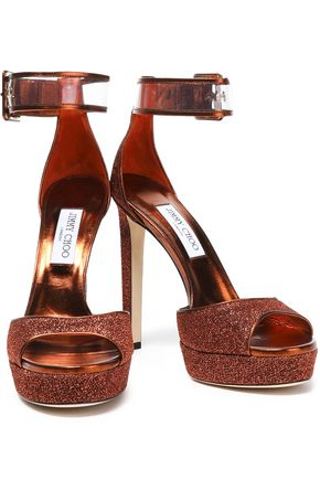 84d1af1129c7 ... JIMMY CHOO Mayner PVC-trimmed glittered leather platform sandals ...